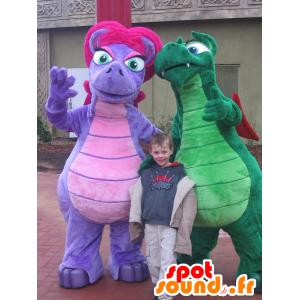 2 drage maskotter, farverige dinosaurer - Spotsound maskot