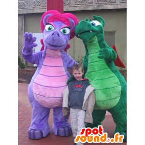 2 dragon mascots, colorful dinosaurs - MASFR22533 - Dragon mascot