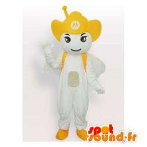 Valkoinen lumiukko maskotti kanssa cowboy hattu - MASFR006508 - Mascottes Homme