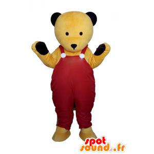 Mascote de pelúcia amarelo em macacões vermelhos - MASFR22600 - mascote do urso