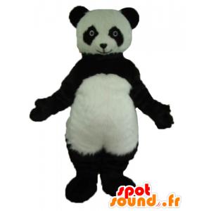 Mascotte de panda noir et blanc, très réaliste