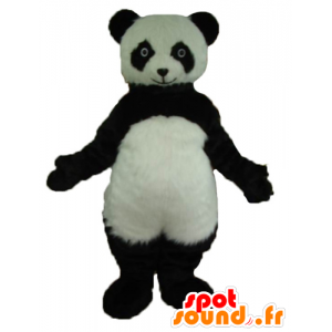 Mascotte di panda in bianco e nero, molto realistico