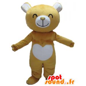 Mascot geel en wit teddyberen, vrolijk - MASFR22606 - Bear Mascot
