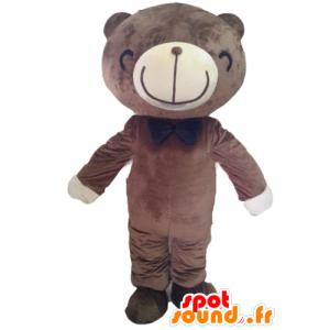 Maskotti ruskea ja valkoinen karhu hymyssä suin - MASFR22607 - Bear Mascot