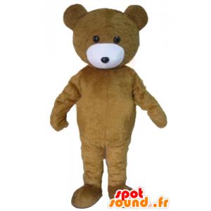 Mascote do urso marrom, marrom e branco de pelúcia - MASFR22608 - mascote do urso