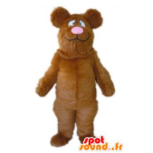 Mascot Big Bear ruskea ja vaaleanpunainen, kaikki karvainen - MASFR22611 - Bear Mascot