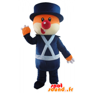 Mascot oranje en witte beer, in blauwe uniform - MASFR22613 - Bear Mascot