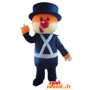 Mascot oransje og hvit bjørn, i blå uniform - MASFR22613 - bjørn Mascot