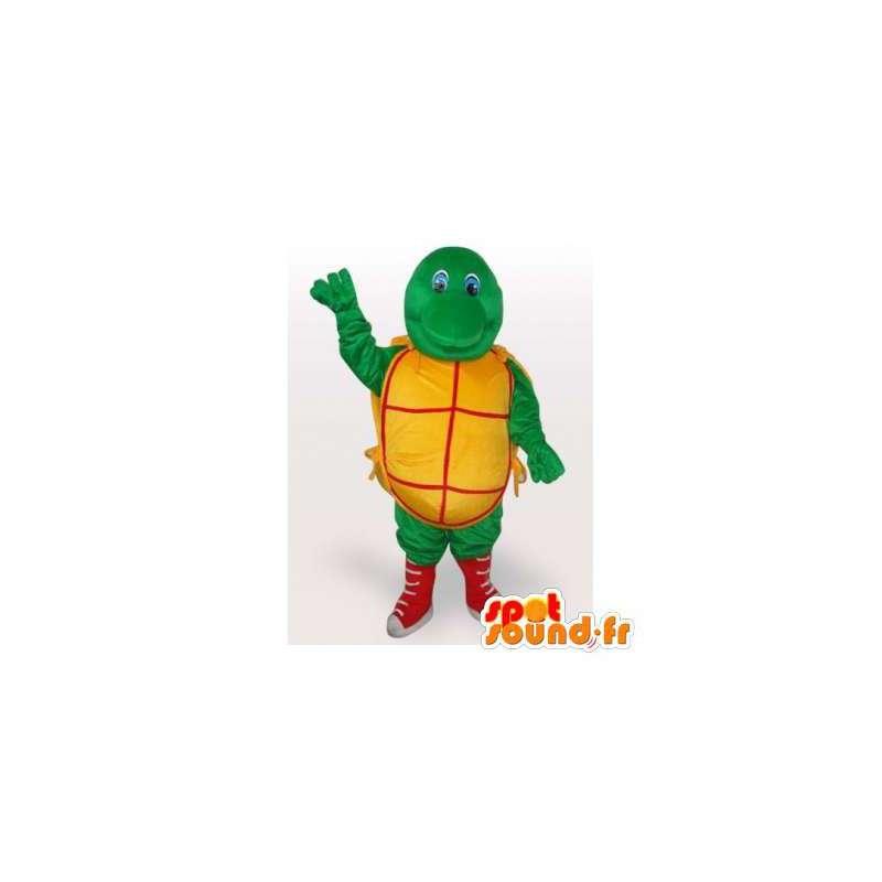 Mascotte gele en rode groene schildpad. Turtle Costume - MASFR006510 - Turtle Mascottes