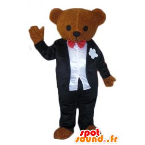 Brun teddy maskot, kledd i en svart og hvit drakt - MASFR22620 - bjørn Mascot