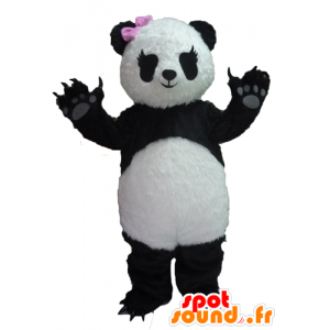 Mascot panda preto e branco com um laço rosa