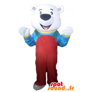 Polar Bear Mascot punaisella haalarit ja t-paitaan - MASFR22633 - Bear Mascot