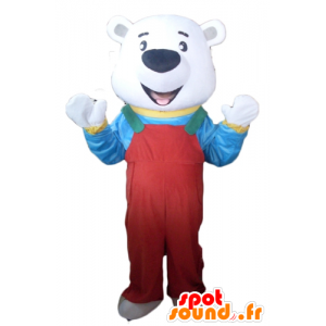 Polar Bear Mascot with red overalls and a t-shirt - MASFR22633 - Bear mascot