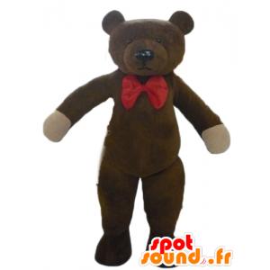 Brun teddy maskot, med en rød sommerfugl node - MASFR22640 - bjørn Mascot