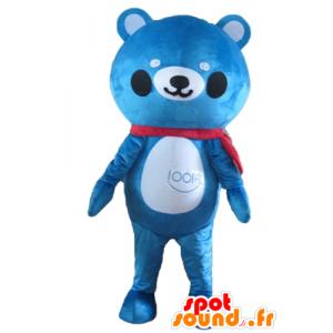 Mascot bamse blå og hvit - MASFR22644 - bjørn Mascot