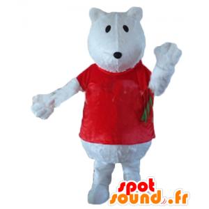 Maskotti jääkarhu, susia, jossa on punainen paita - MASFR22645 - Bear Mascot