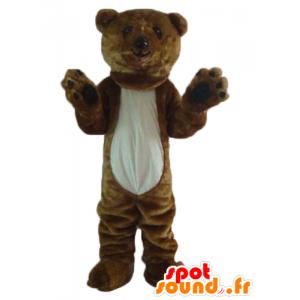 Maskotti ruskea ja valkoinen karhu, jättiläinen, pehmeä ja karvainen - MASFR22646 - Bear Mascot