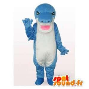 Mascotte de requin bleu et blanc. Costume de requin géant
