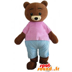 Mascot Small brown bear, brown with a pink and blue outfit - MASFR22648 - Bear mascot