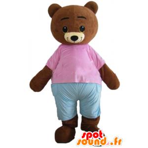 Maskot Liten bjørn, brun, med en rosa og blå drakt - MASFR22648 - bjørn Mascot