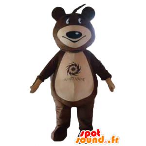 Mascota del oso de peluche marrón y beige - MASFR22651 - Oso mascota