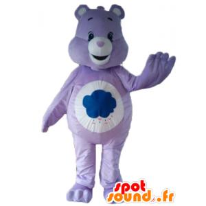 Mascot Bærer lilla og hvitt, med en sky - MASFR22653 - bjørn Mascot