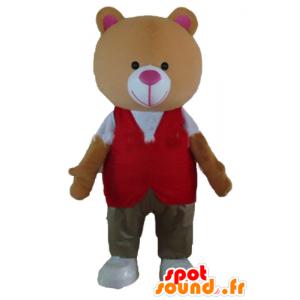 Teddy mascotte felpa arancione, con un abito colorato - MASFR22657 - Mascotte orso