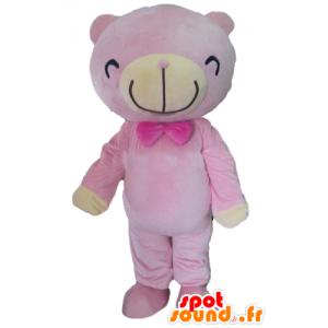 Mascot nalle vaaleanpunainen ja beige - MASFR22659 - Bear Mascot