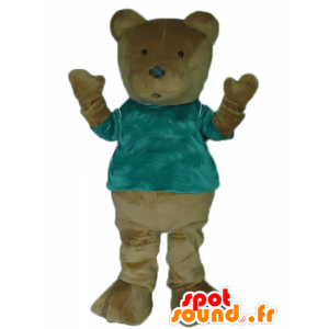 Mascote do urso urso pardo, com camisa verde - MASFR22660 - mascote do urso