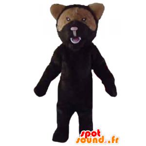 Svart och brun björnmaskot, brusande luft - Spotsound maskot
