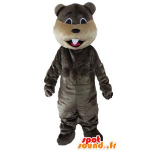 Mascot grå og beige bever med store tenner