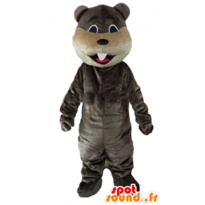 Mascot gray and beige beaver with big teeth