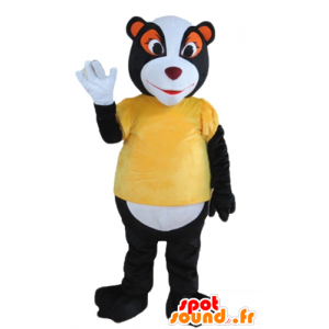 Mascot skunk, raccoon black, white and orange