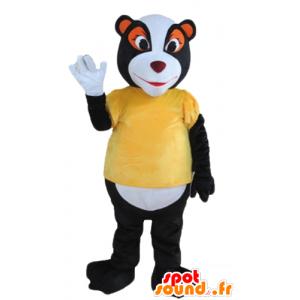 Maskotka skunks, szop czarny, biały i pomarańczowy