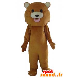 Lion mascot, brown tiger, giant cute - MASFR22668 - Lion mascots
