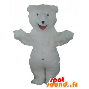 Mascotte white teddy bear while hairy - MASFR22670 - Bear mascot
