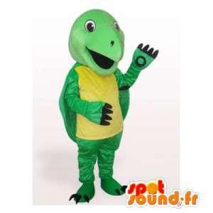 Mascotte de tortue jaune et verte. Costume de tortue
