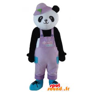 Mascotte de panda noir et blanc, en salopette, avec un chapeau