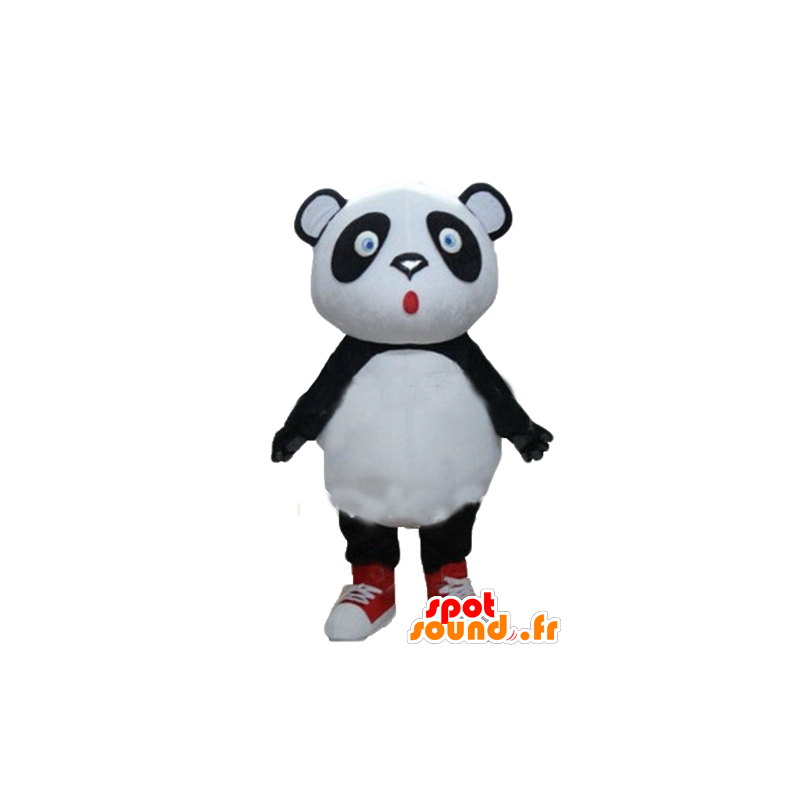 Große schwarze und weiße Panda-Maskottchen, blaue Augen - MASFR22676 - Maskottchen der pandas