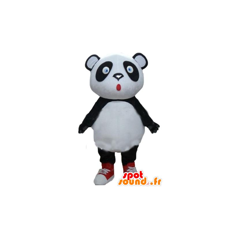 Mascotte de gros panda noir et blanc, aux yeux bleus - MASFR22676 - Mascotte de pandas