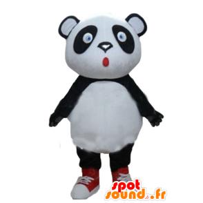 Grote zwart-wit panda mascotte, blauwe ogen - MASFR22676 - Mascot panda's