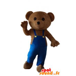 Mascot teddybeer met blauwe overalls - MASFR22677 - Bear Mascot