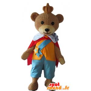Mascot brown bear, wearing a colorful outfit King - MASFR22678 - Bear mascot