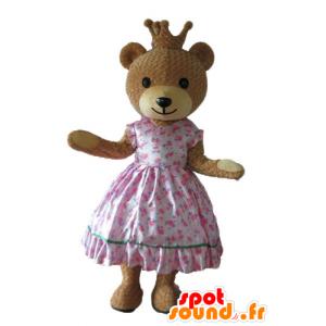 Mascotte Orso in abito rosa principessa, con una corona - MASFR22679 - Mascotte orso