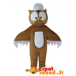 Marrone e bianco gufo mascotte, con grandi occhi - MASFR22683 - Mascotte degli uccelli