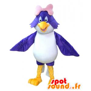 Hurtownia maskotka niebieski i biały ptak z różową kokardką - MASFR22686 - ptaki Mascot