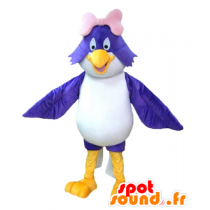 Mascotte large blue and white bird with a pink bow - MASFR22686 - Mascot of birds