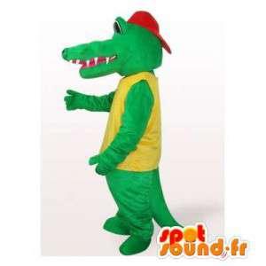Krokodil mascotte met een rode dop