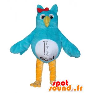 Mascot uil blauw, wit en geel - MASFR22689 - Mascot vogels