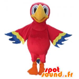 Mascotte de perroquet rouge, jaune et bleu, géant